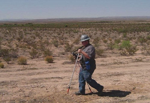 A CIS of a pipeline in West Texas is performed by a cathodic protection technician. Photo courtesy of JW's Pipeline Integrity Services.