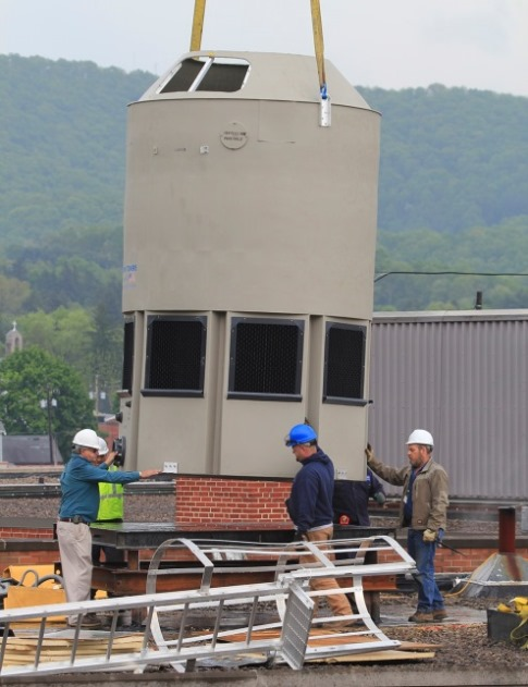 The modular plastic cooling tower was factory assembled.  Photo courtesy of Delta Cooling Towers.