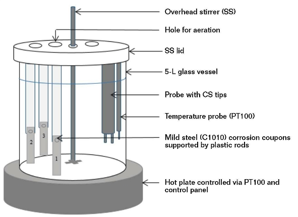 FIGURE 1: Schematic diagram of laboratory scale and corrosion test station.