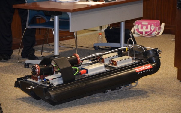 The 50-lb (22.7-kg) robot is used to inspect sewer pipes in the city. Photo courtesy of City of Arlington.