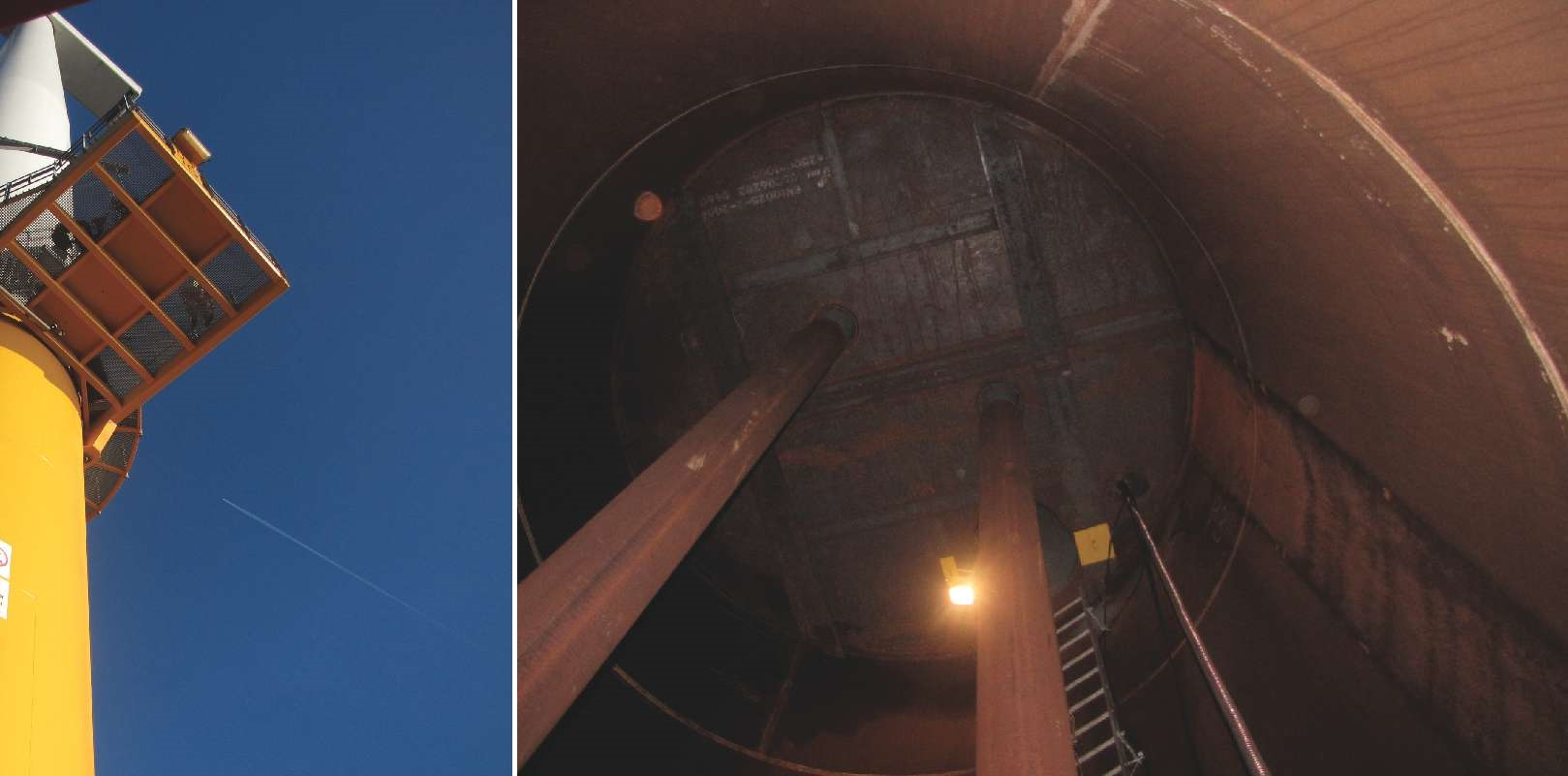Left, the wind turbine monopile. Right, the sealed portion of the monopile below the lower platform. Photos courtesy of Alex Delwiche.