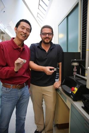 The study's lead author, LLNL scientist Morris Wang (left), is alongside post-doctoral researcher Thomas Viosin. Photo by Kate Hunts, LLNL.