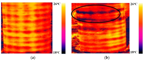 A thermogram of a concrete pillar (a) without a defect and (b) with a defect. Photo courtesy of TPU.