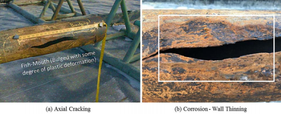 Images of the axial split. Left, a fish-mouth appearance with some degree of bulging. Right, corrosion and wall thinning associated with the failure site. Images courtesy of CPUC.