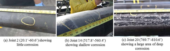 The severity of observed corrosion generally increased with joints located further beneath the surface. Images courtesy of CPUC.