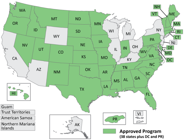 States in green have UST regulatory programs approved by the EPA. Image courtesy of EP