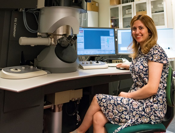 Nooshin Mortazavi, materials researcher at the school's physics department, served as the study's first author. Photo courtesy of Chalmers University of Technology.