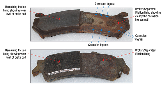 Some brake pads examined in the study showed partial or full friction material separation from the backing plate. Photo courtesy of GBSC.