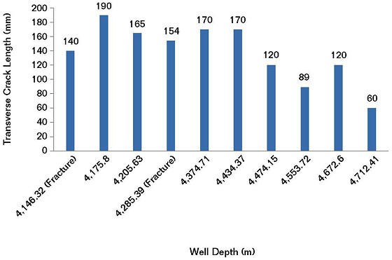 FIGURE 2: The transverse crack (fracture) length vs. well depth for 10 tubing samples.
