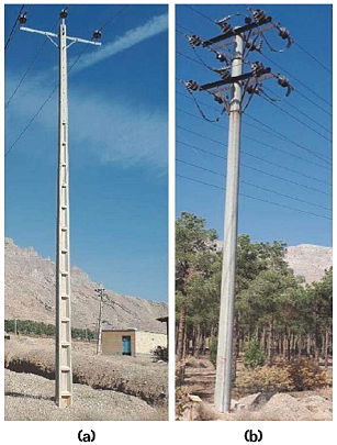 Two different types of concrete poles: (a) H cross section, and (b) round cross section or O section.