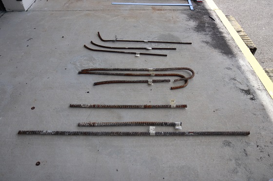 Samples of rebar recovered from the collapsed pedestrian bridge at Florida International University near Miami, Florida, USA, recently underwent materials testing as part of the ongoing investigation. Photo by Adrienne Lamm, NTSB.
