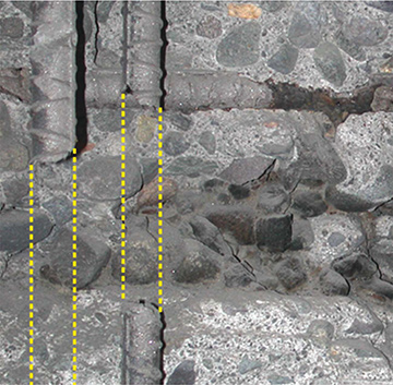 FIGURE 3:  Complete section loss of rebar at a construction joint.