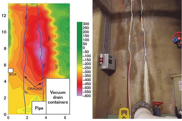 FIGURE 4:  A corrosion potential map and corresponding photo of the leaking tank wall.