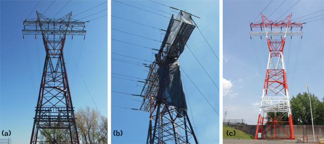 A power transmission tower (a) before the lead abatement was performed; (b) wrapped during the lead abatement process in accordance with federal, state, and local regulations; and (c) after the new coating was applied. Photos courtesy of Curtis Hickcox.
