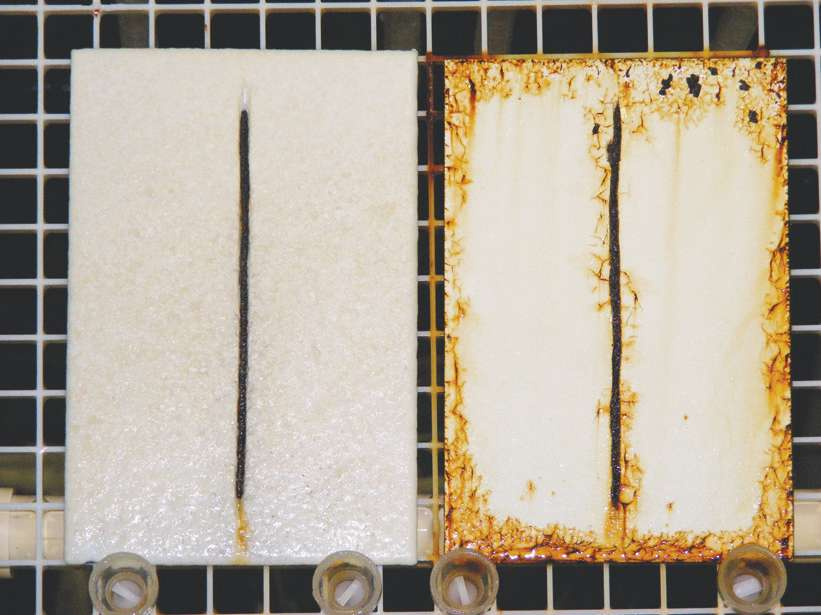 A CBPC-coated steel coupon (left) and a steel panel coated with another corrosion-resistant coating (right) after 45 days in an ASTM B117 salt fog test chamber. Photo courtesy of EonCoat.