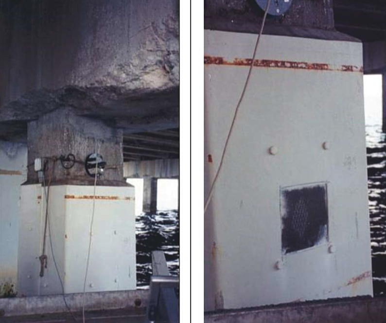 A general view of a bridge pile protected with jacketed zinc anodes. The photo on the right reveals the zinc mesh that is covered by a thin coat of mortar. Photos courtesy of the authors.