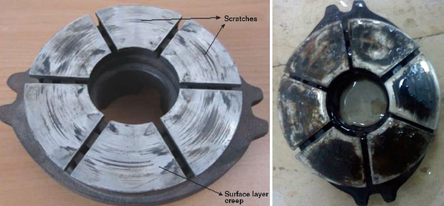 FIGURE 3 (left)  The SS pads of the thrust bearing show surface layer creep and a rough surface.  FIGURE 4 (right) After the surface of the SS segment becomes rough, carbon particles from the carbon pad fill in roughness voids and produce additional friction-related wear.