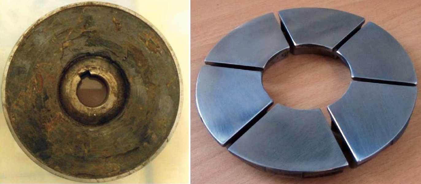 FIGURE 5 (left)  The rough and damaged surface of a thrust bearing carbon pad.  FIGURE 6 (right) The finished surface of the SS pads after machining and polishing.