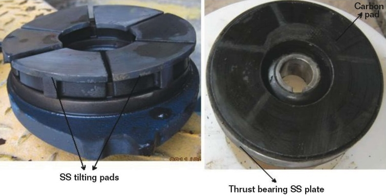 FIGURE 2  The SS pads and carbon pad used in a thrust bearing.